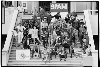 5|11  Rudi Gernreich (seated in center wearing black zippered jacket) among fellow artists on the steps of LACMA, 1968. Photo © Museum Associates/LACMA.